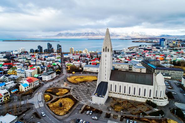 Aerial view of Hallgrimskirkja in Reykjavik, Iceland