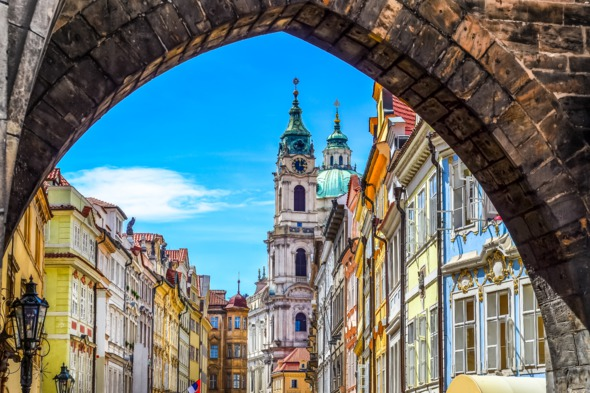 View of Prague old town from Charles Bridge