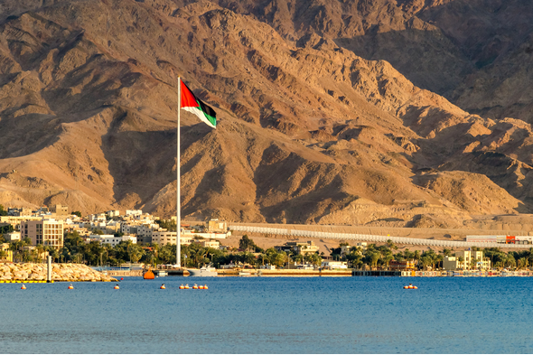 Giant Jordanian flag in Aqaba, Jordan