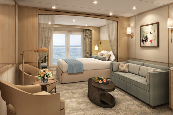 Windstar Star Plus refurbishment - Star Balcony Suite rendering