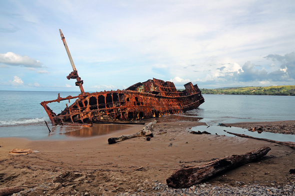 World War II shipwreck near Honiara, Guadalcanal, Solomon Islands