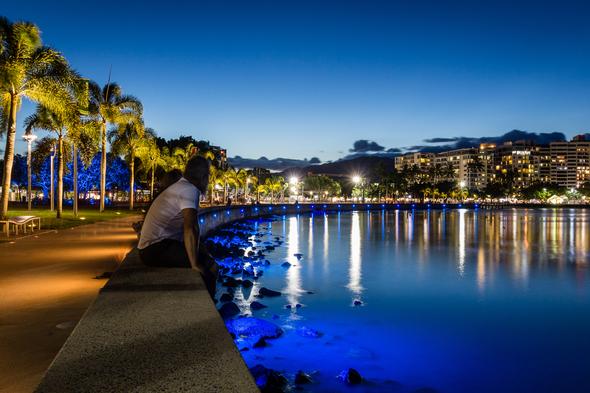 Cairns esplanade by night, Australia
