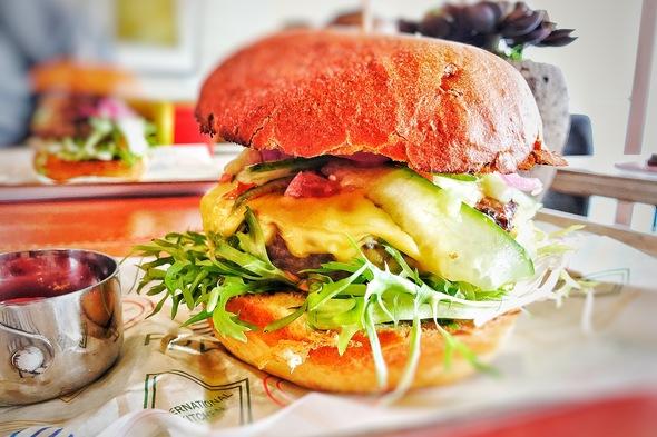 Enjoying a burger on the MS Fridtjof Nansen