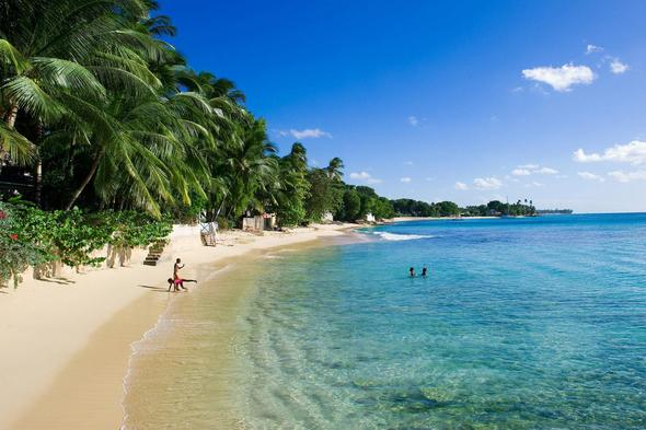 Kids on the beach in Barbados