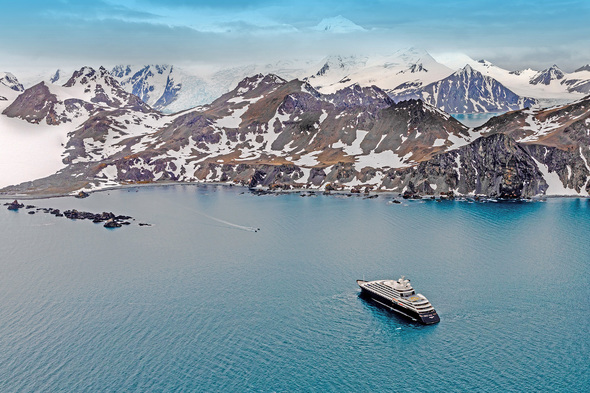Aerial view of Scenic Eclipse in Antarctica