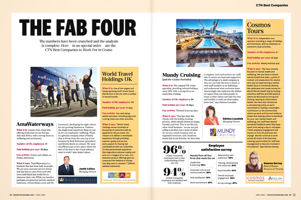 Cruise Trade News - Best companies to work for in cruise