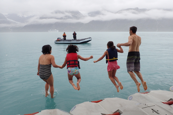 UnCruise Adventures - Family take the polar plunge in Glacier Bay, Alaska