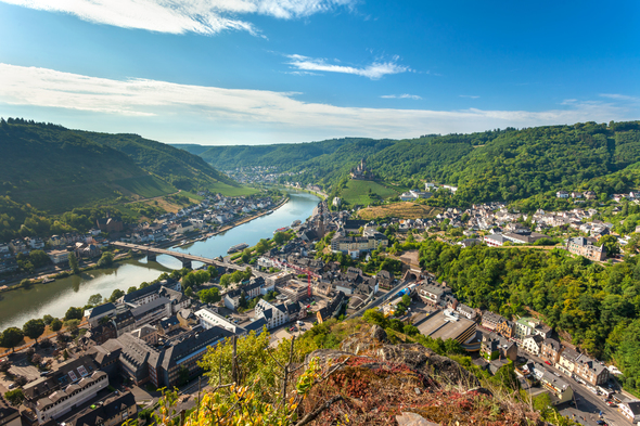 Moselle river flowing through Cochem, Germany