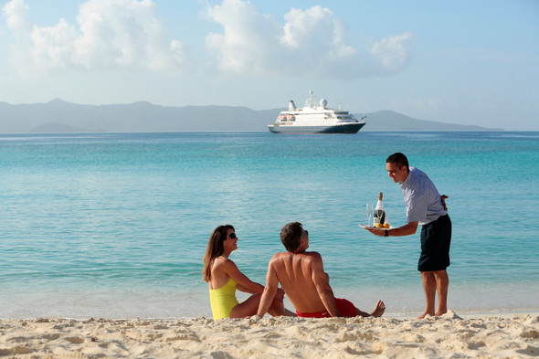 SeaDream service on the beach in the Caribbean