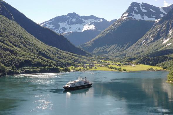 SeaDream Yacht Club cruising the Norwegian Fjords in 2020