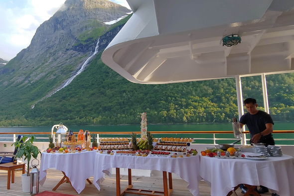 Buffet on deck during a SeaDream cruise in Norway