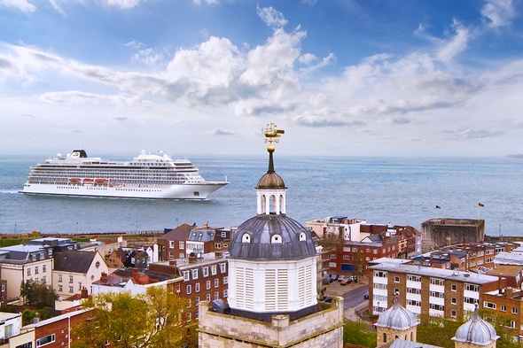Viking Venus in Portsmouth as part of her 2021 summer programme cruising around the UK