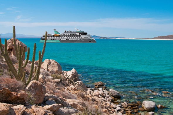 Rendering of the Sylvia Earle, Aurora Expeditions' new ship, cruising Baja California and the Sea of Cortez