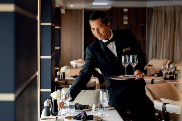 Open seating dining on Regent - read our guide to luxury cruise ship terminology if you're not sure what that means!