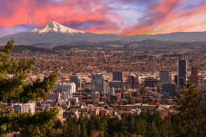 Sunrise over Portland, Oregon