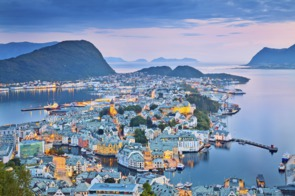 Aerial view of Alesund, Norway
