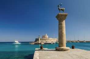 Entrance to Rhodes harbour, Greece