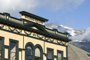 Railroad building in Skagway, Alaska