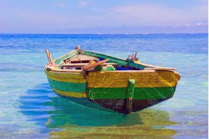 Old fishing boat in Labadee, Haiti