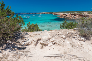 Cala Saona beach on Formentera, Spain