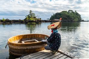 Tub boats on Sado Island, Japan
