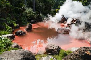 Red hot spring in Beppu, Japan
