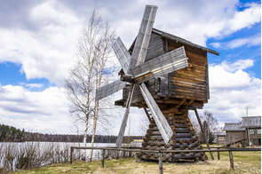 Wooden windmill in Mandrogi, Russia