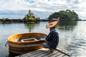 Tub boats on Sado Island, Japan
