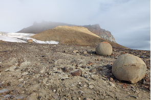 Stone spheres on Champ Island, Franz Josef Land, Russia