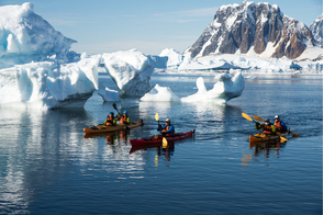 Aurora Expeditions - Greg Mortimer - Kayaking in Antarctica