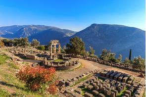 Temple at ancient Delphi, Greece