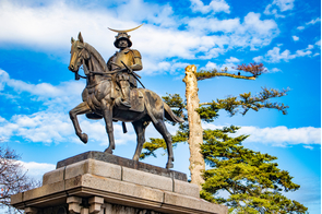 Date Matsumune statue in Sendai, Japan