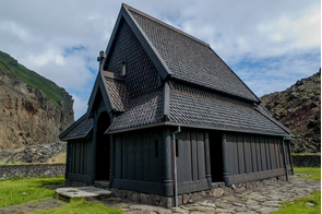 Black church in Heimaey, Westman Islands, Iceland