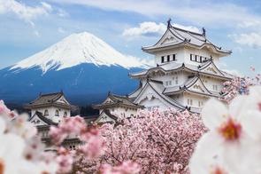 Himeji Castle and Mount Fuji, Japan