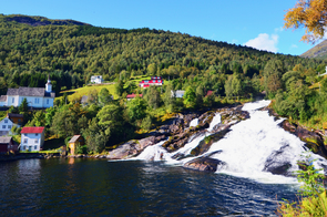 Waterfall in Hellesylt, Norway
