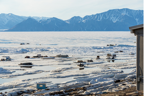 Qaamutiiks in spring ice, Pond Inlet, Canada