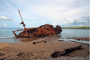 World War II shipwreck near Honiara, Guadalcanal, Solomon Islands