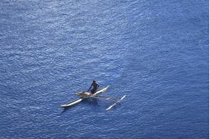 Traditional canoe off Garove island, Papua New Guinea