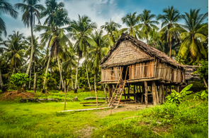 Traditional house in Palembe, Sepik river, Papua New Guinea