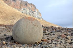 Spherical stone on Champ Island, Russia