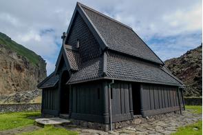 Black church in Heimaey, Westman Islands, Iceland