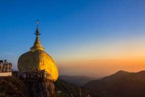 Golden Rock at dusk, Myanmar