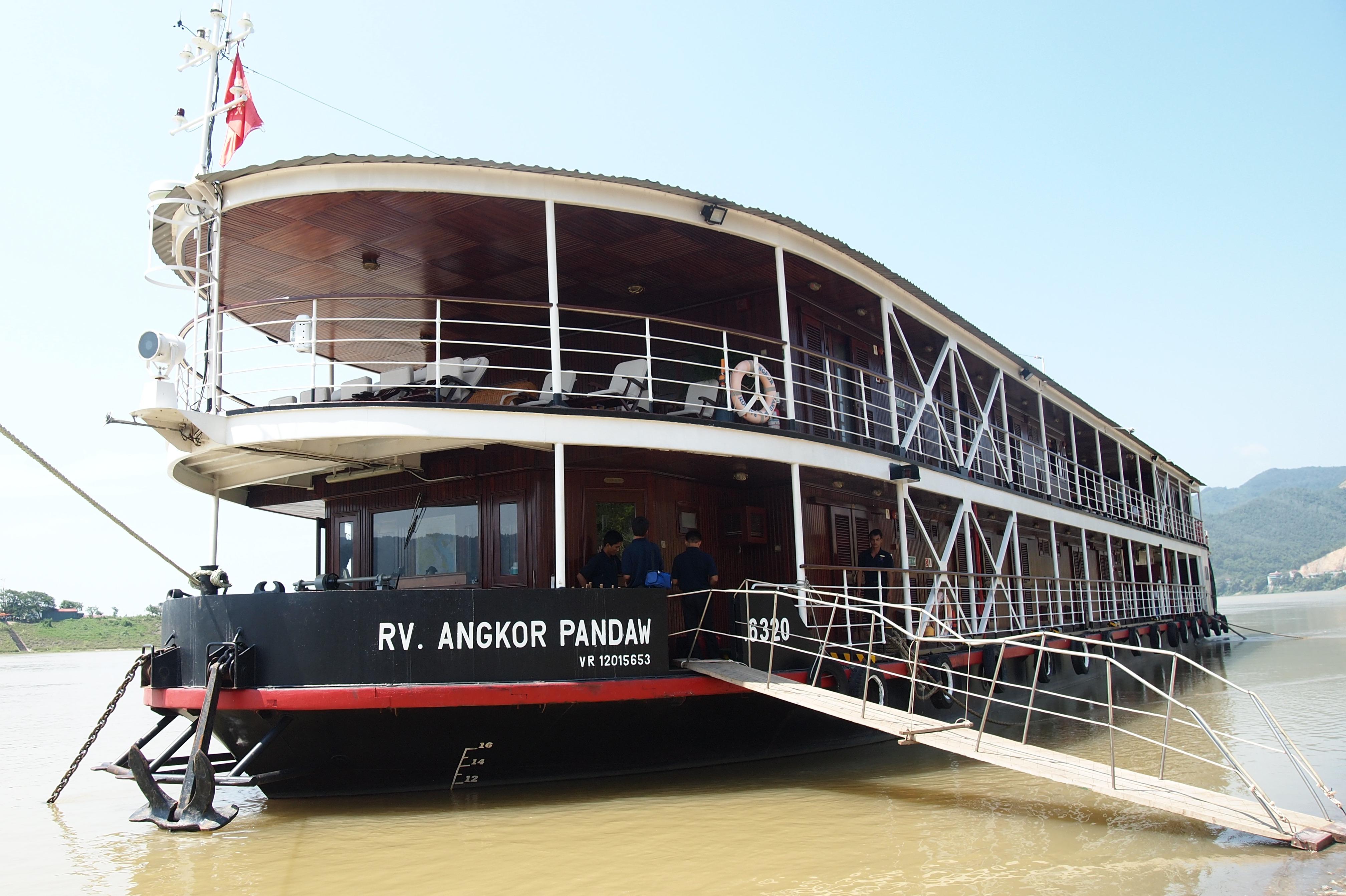 Pandaw Expeditoins RV Angkor Pandaw at riverside