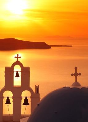 Summer cruises - Sunset over Santorini