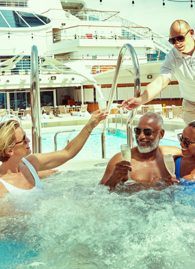 Guests on board Seabourn, one of the best all-inclusive cruise lines