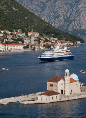 SeaDream Yacht Club in the Bay of Kotor, highlight of a Greece, Montenegro & Croatia cruise