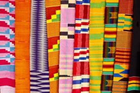 Fabrics at a market in Accra, Ghana