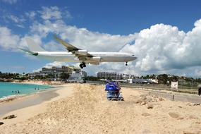 Plane over Maho Bay, St Maarten