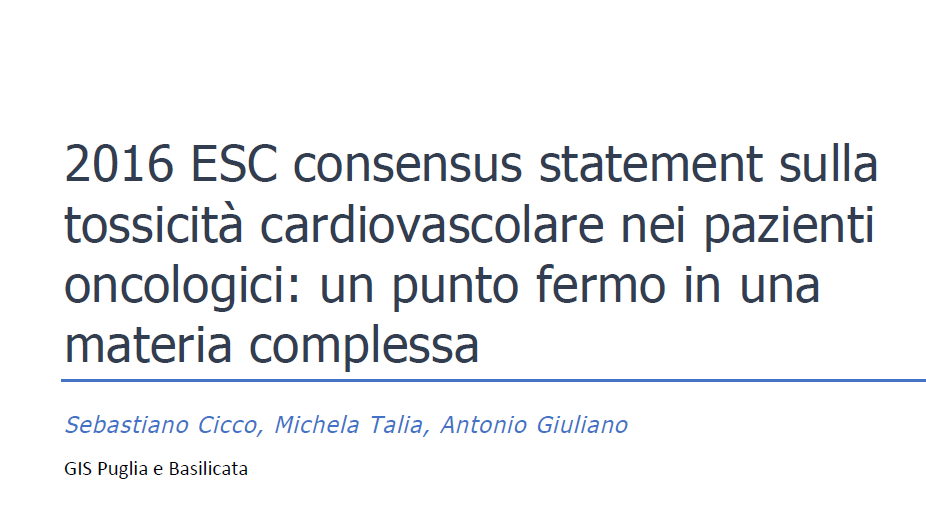 2016 ESC consensus statement tossicita cardiovascolari pazienti oncologici