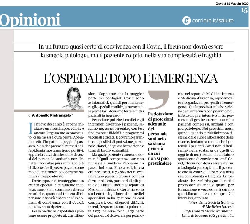Editoriale odierno del Presidente sul Corriere della Sera